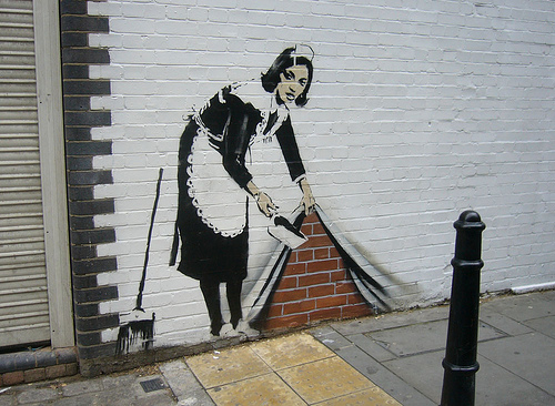 banksy stencil london graffiti work maid
