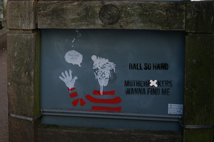 wheres wally kent uni spotted graffiti ball so hard motherfuckers wanna find me